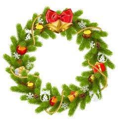 Fir wreath with golden beads vector