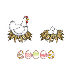 Flat chicken eggs in nest isolated vector