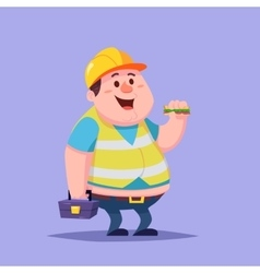 Funny Cartoon Character Fat man repairman builder vector image