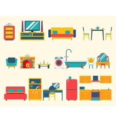 Furniture house interior icons and symbols set vector