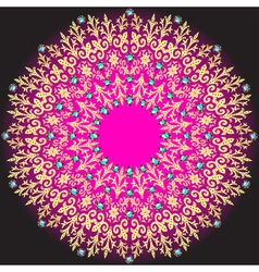 Golden circular pattern on a dark vector