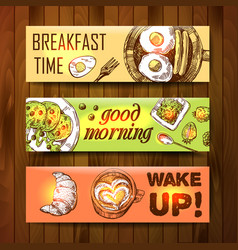 hand drawn breakfast is a vector image vector image