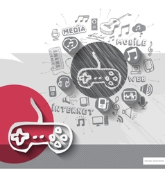 Hand drawn game controller icons with icons vector image