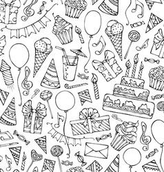 Hand-drawn seamless birthday pattern vector