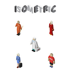 Isometric person set of medic hostess female and vector