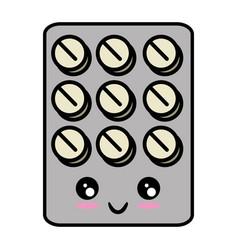 Medicine pills isolated kawaii cartoon vector
