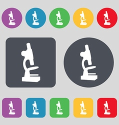 Microscope icon sign A set of 12 colored buttons vector image