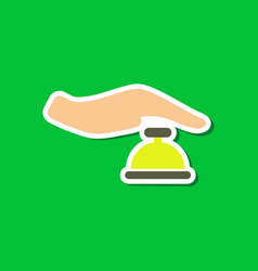 Paper sticker on stylish background hand bell vector