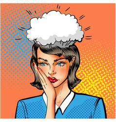 pop art of woman having vector image vector image