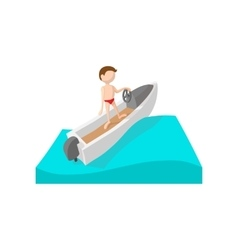 Racing boat cartoon icon vector