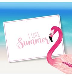 Realistic sea background tropical flamingo bird vector