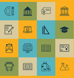set of 16 school icons includes education center vector image