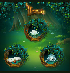 set of different items for shadowy forest gui vector image