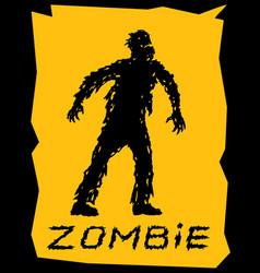 silhouette of a walking zombie concept vector image
