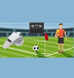 Soccer score banner horizontal cartoon style vector