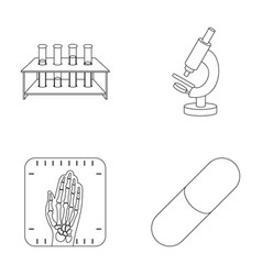 Test tubes on a stand microscope x-ray hands vector