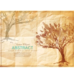 Tree painted on old crumpled paper vector