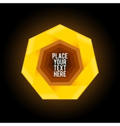 Yellow heptagon shape on dark background vector