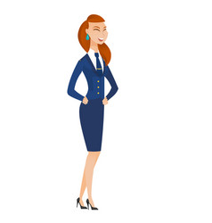 Young caucasian stewardess laughing vector