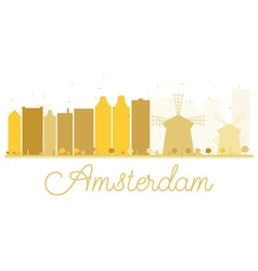 Amsterdam city skyline golden silhouette vector