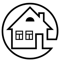 Round icon house with a chimney and windows vector