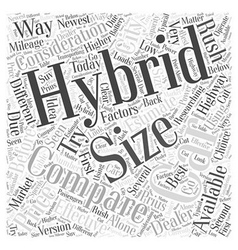 Compare hybrid cars word cloud concept vector