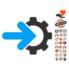 gear integration icon with love bonus vector image