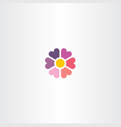 Flower heart icon floral symbol vector