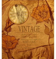 Vintage background with drawing flowers vector