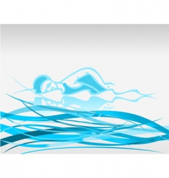 swimmer on waves vector image