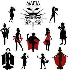 Female characters silhouettes retro mafia set vector