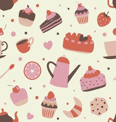 Cute pattern with sweets vector