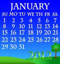 January 2012 landscape calendar vector