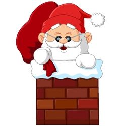 Cartoon santa claus in chimney vector