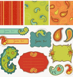 Design elements for scrapbook with paisley vector