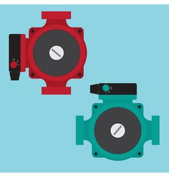 Heating circulating pump flat icons vector