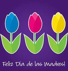 Spanish tulip mothers day card in format vector