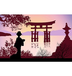 Geisha and Mount Fuji vector image