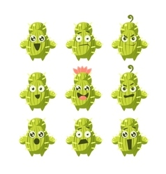 Cactus cartoon character set vector