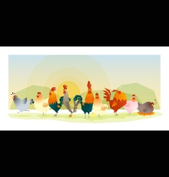 Animal background with chickens 1 vector