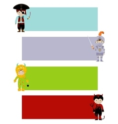 Banners with cute kids in fancy costumes vector