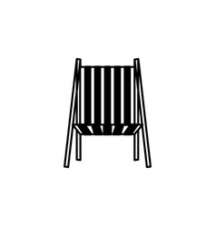 Black silhouette of beach chair front view vector