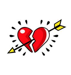 Broken red heart pierced with an arrow vector