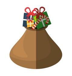 christmas bag gifts isolated icon vector image