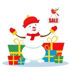 Christmas sale snowman vector image vector image