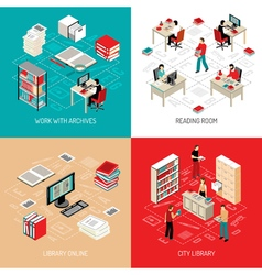 Document archive library 4 isometric icons vector