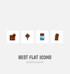 flat icon cacao set of delicious wrapper bitter vector image vector image