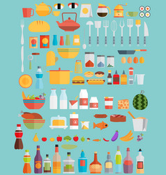 fooddrinks and kitchenware flat vector image