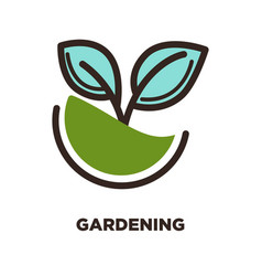 green plant growing from earth logo design two vector image