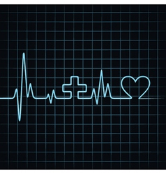 Heart beat make medical and heart symbol vector